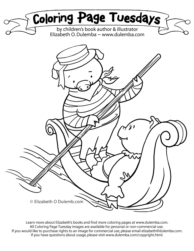 coloring page tuesday pig in a gondola