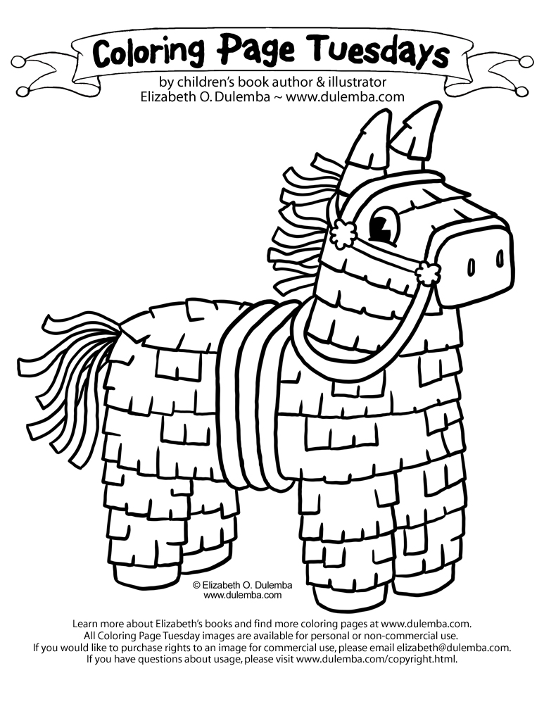 coloring page tuesday cinco de mayo piata