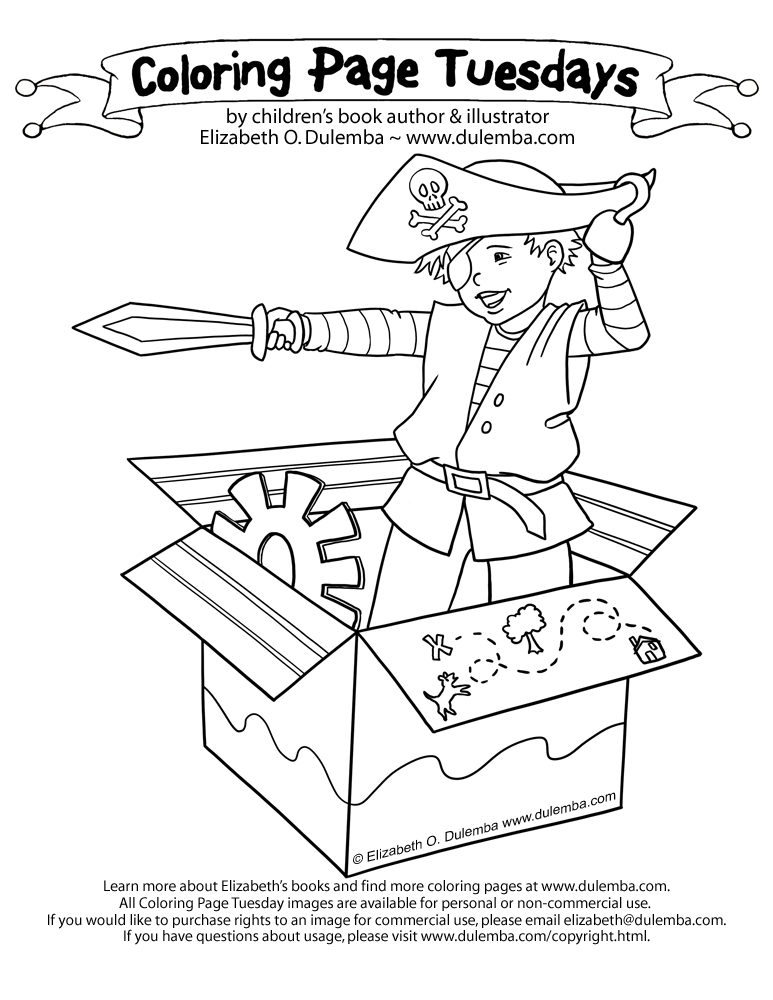 coloring page tuesday pirate time - Open Treasure Chest Coloring Page
