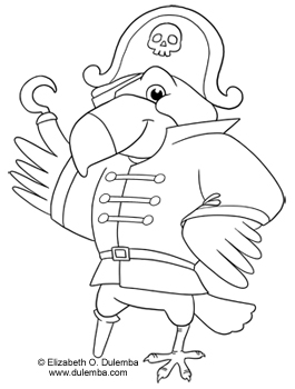 Dulemba Coloring Page Tuesday Pirate Parrot Pirate Parrot Coloring Pages