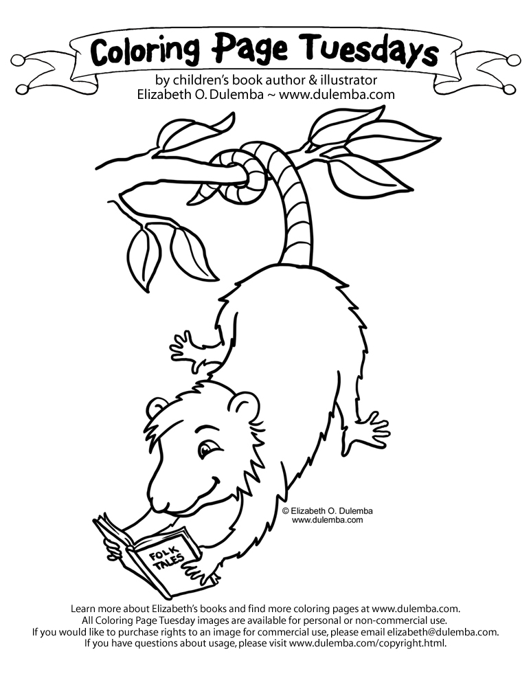 dulemba Coloring Page Tuesday Folk Tale lovin Possum
