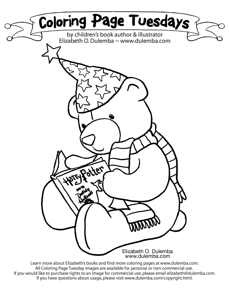 dulemba: Coloring Page Tuesday! - Teddy Bear Reading Harry