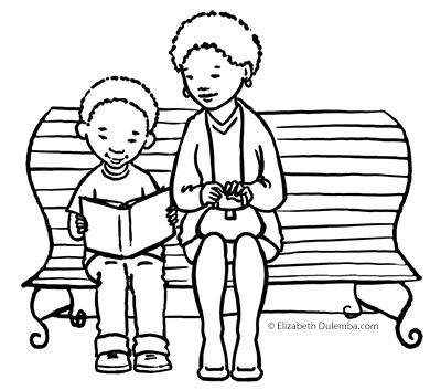 coloring page tuesdays reading bench