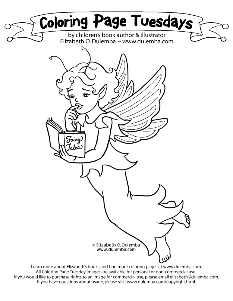 dulemba: Coloring Page Tuesday Reading Fairy TWO