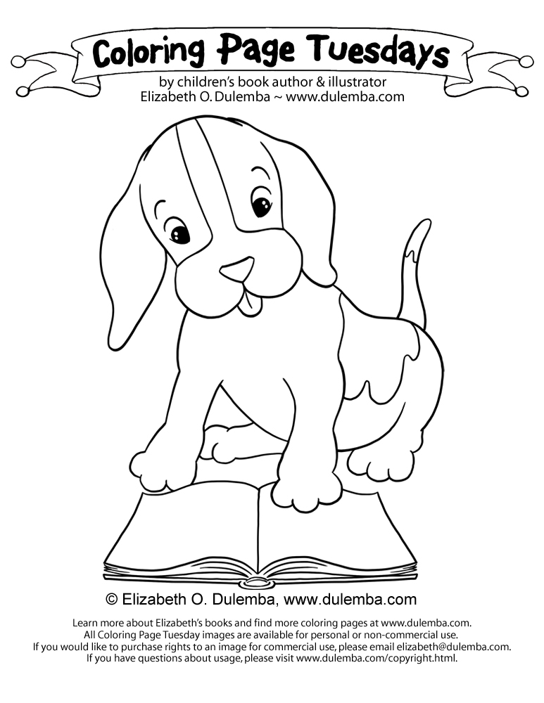 dulemba coloring page tuesday reading puppy