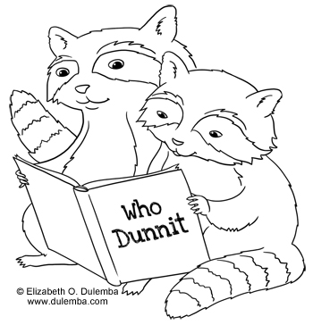dulemba coloring page tuesday reading raccoons