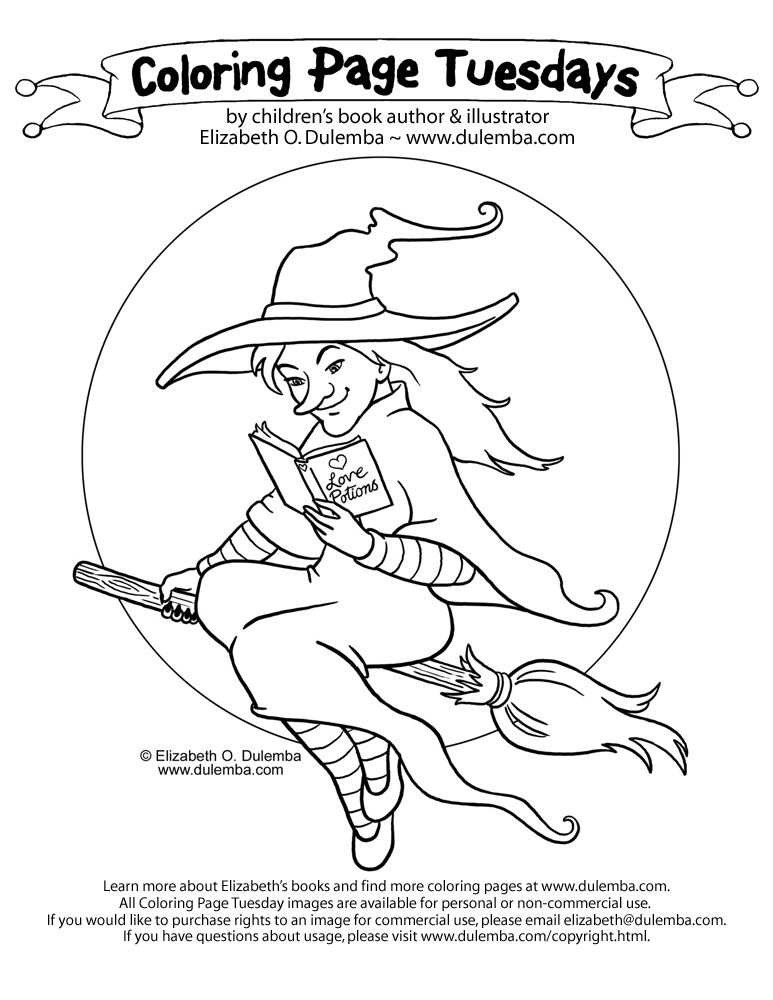 coloring page tuesday reading witch