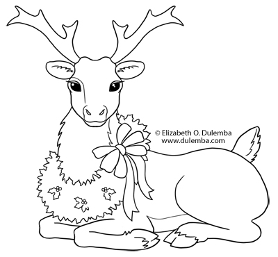 coloring page tuesday reindeer