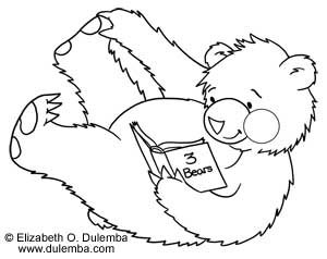 dulemba Coloring Page Tuesday Roly Poly Reading Bear