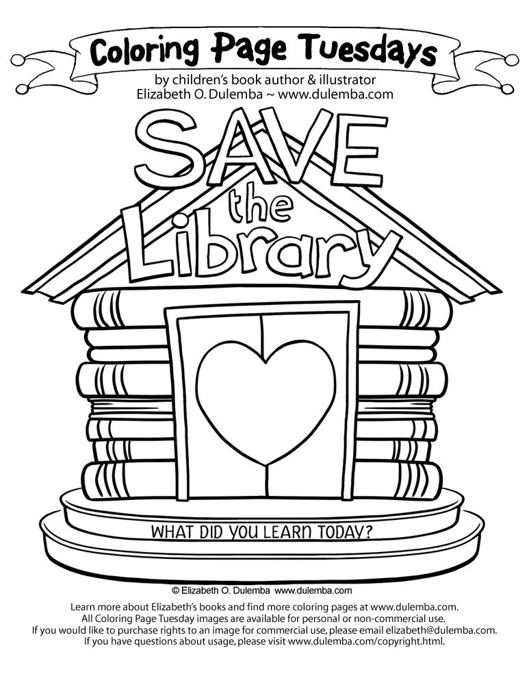 Coloring Page Tuesday Save the Library