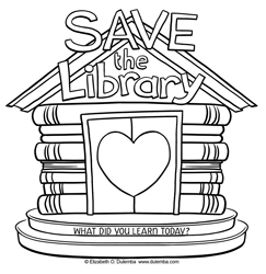 dulemba Coloring Page Tuesday Save the Library
