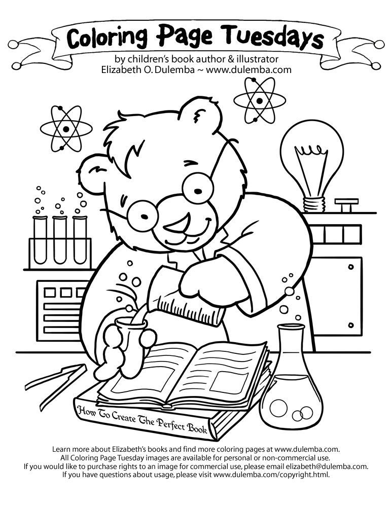 coloring page tuesday science bear - Science Coloring Pages
