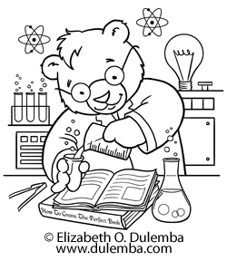 dulemba coloring page tuesday science bear - Science Coloring Pages