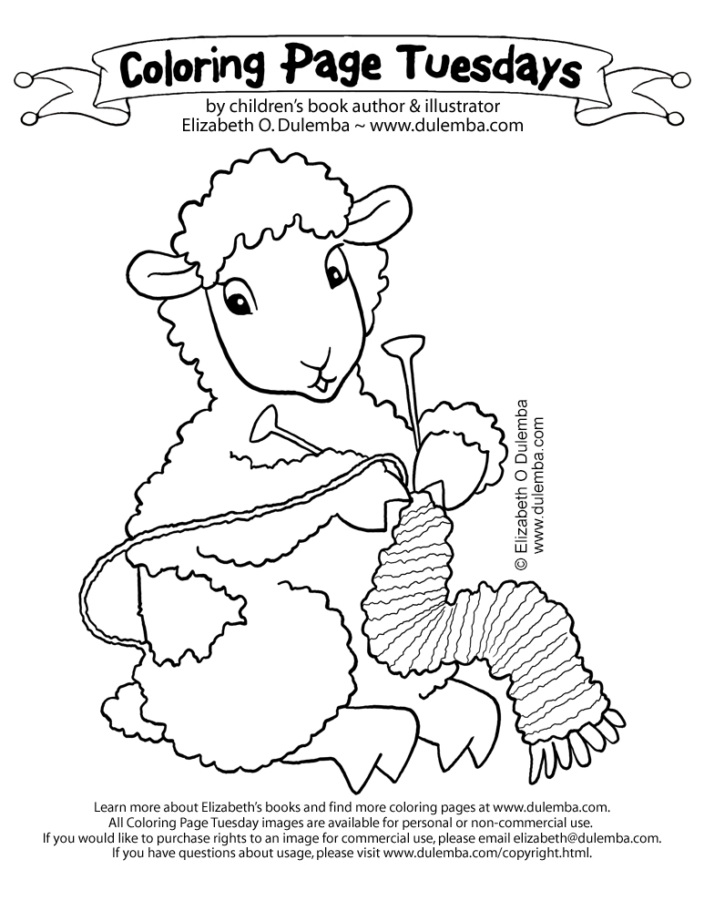 coloring page tuesday knitting sheep