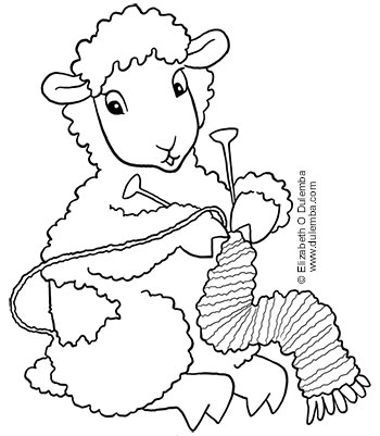 dulemba coloring page tuesday knitting sheep