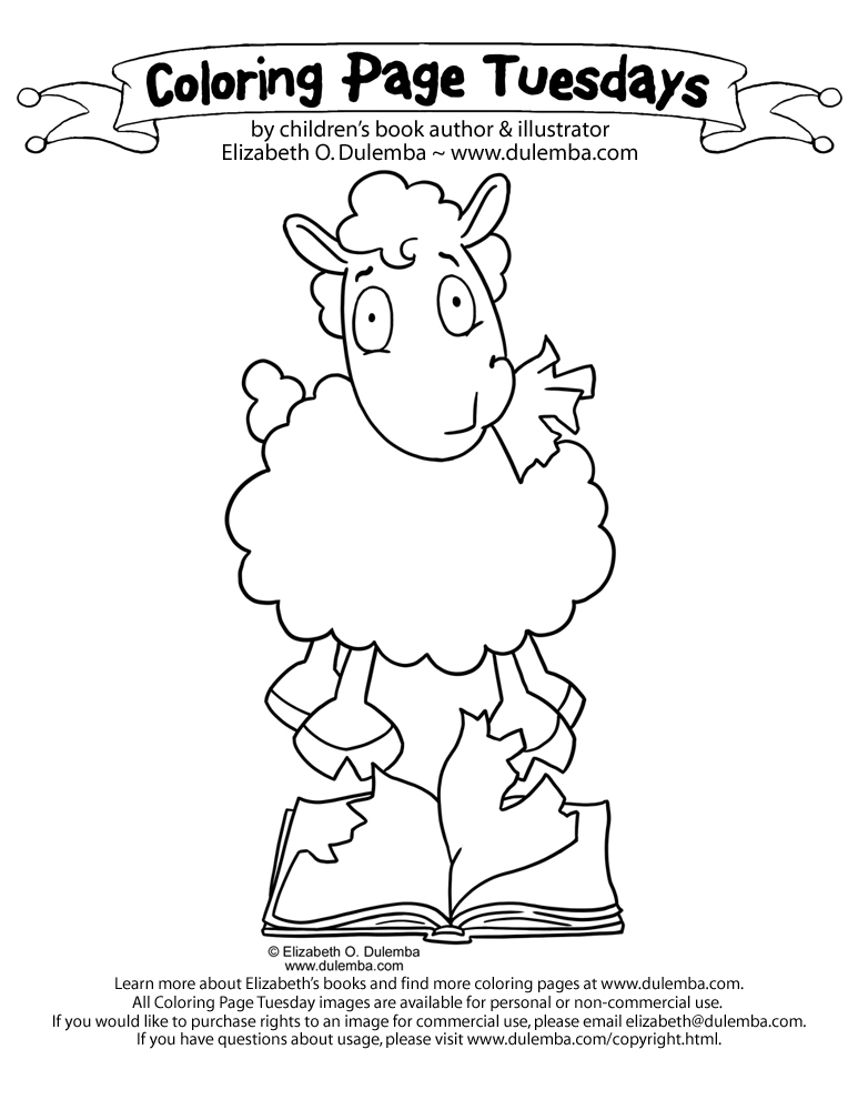 Coloring Page Tuesday - Reading Sheep?