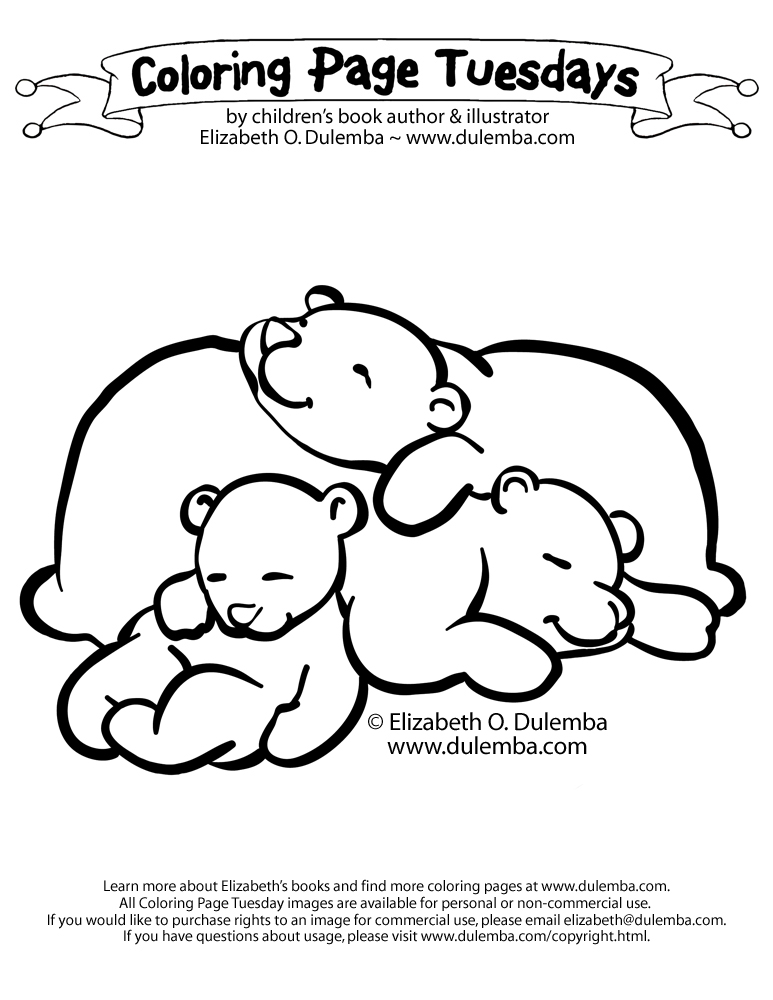 coloring page tuesday sleeping bears