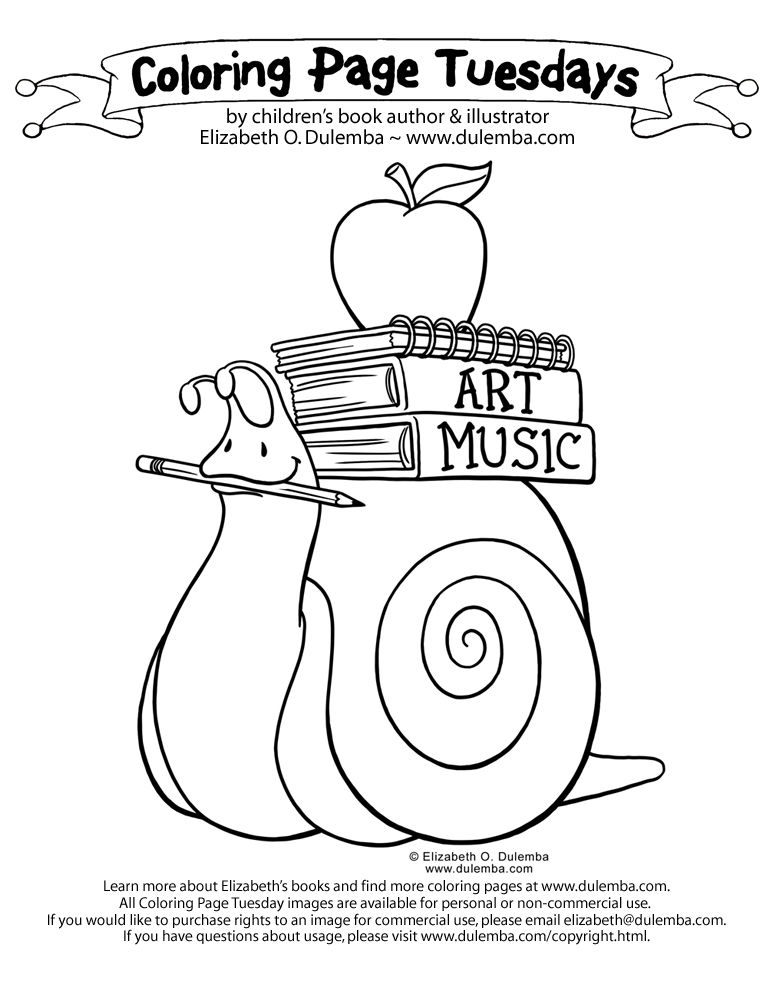 dulemba: Coloring Page Tuesday! - Back to School Snail