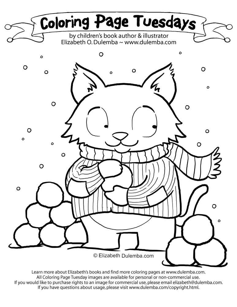 coloring page tuesday snowball cat