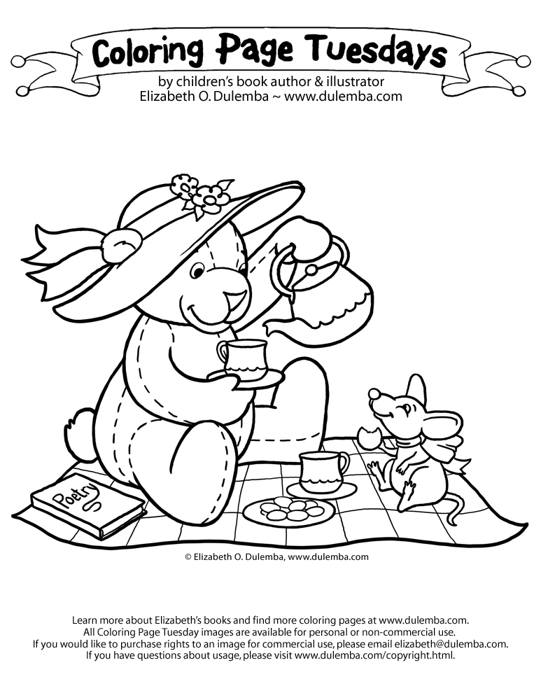 Coloring Page Tuesday - Teddy Tea Party