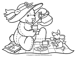 dulemba Coloring Page Tuesday Teddy Tea Party