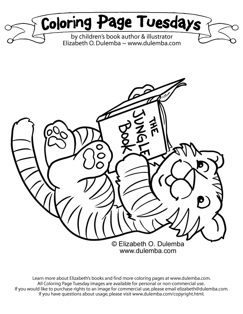 coloring page tuesdays baby tigers love to read