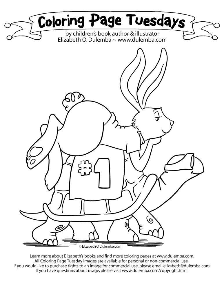 coloring page tuesday tortoise and the hare