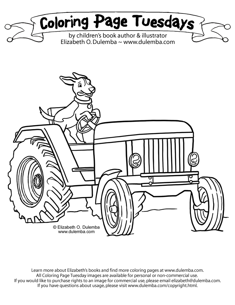 dulemba: Coloring Page Tuesday - Bernie on a tractor!