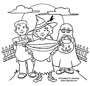 coloring page tuesday trick or treat