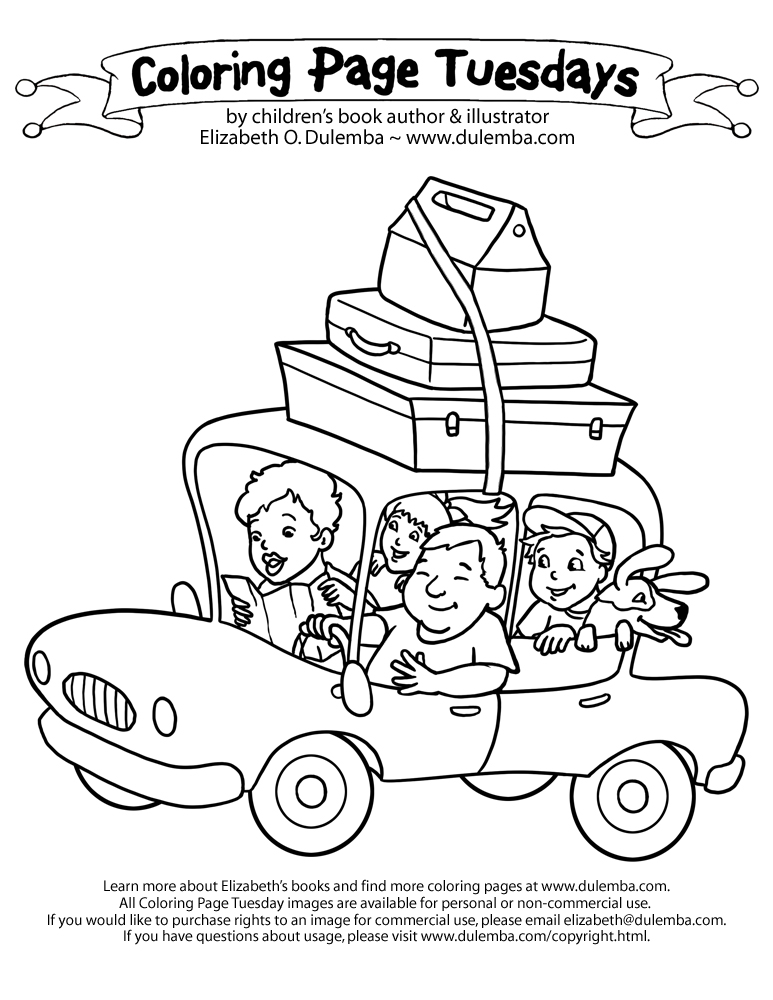 coloring page tuesday vacation