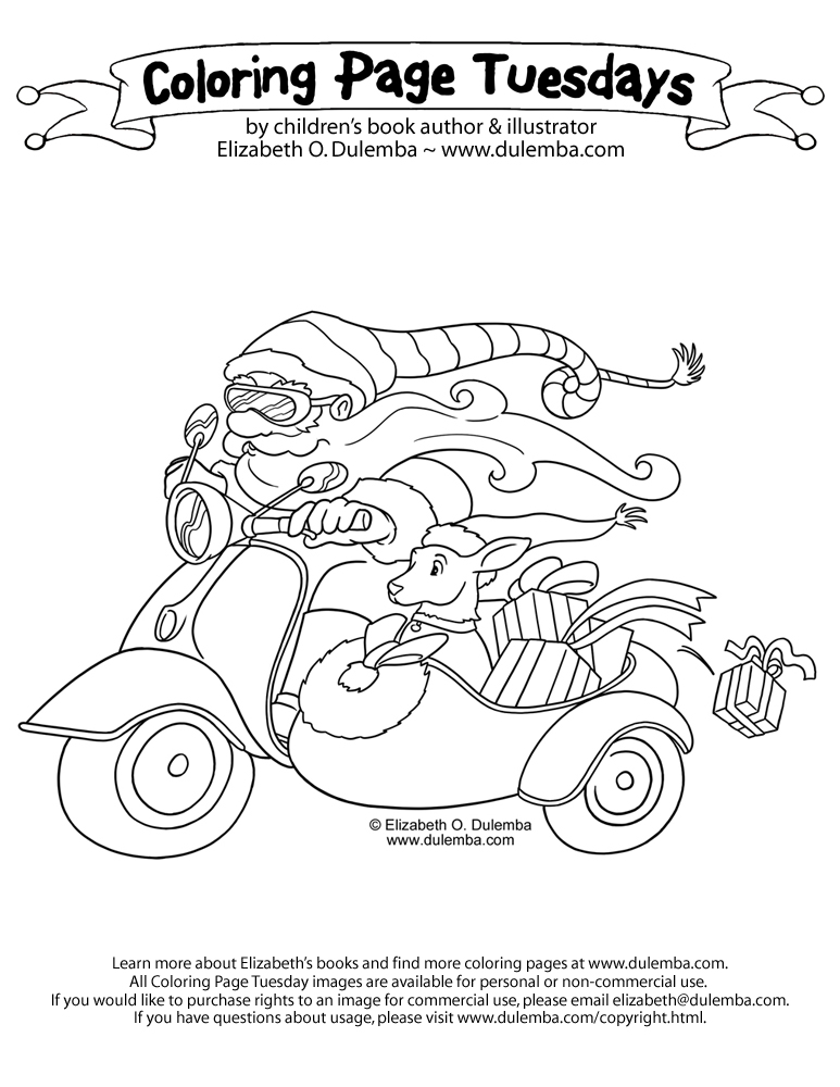 coloring page tuesday vespa santa
