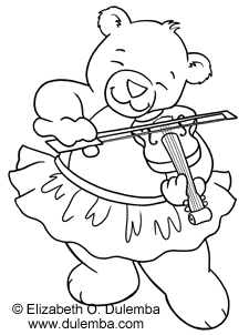 Dulemba Coloring Page Tuesday Violin Bear