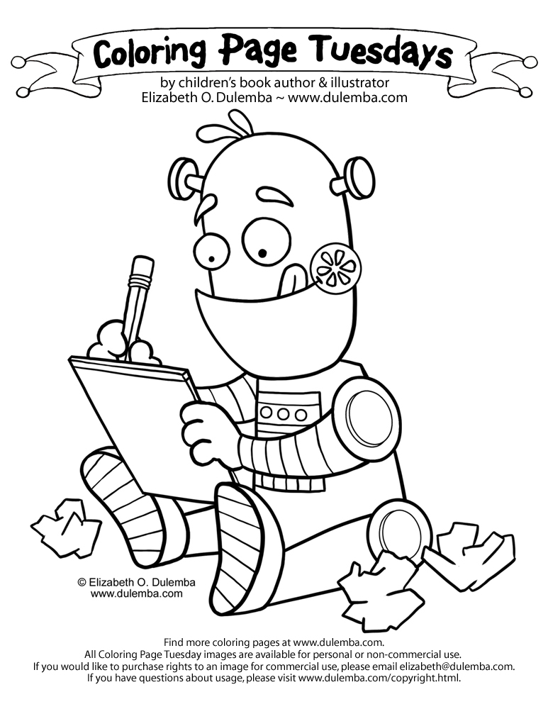 Coloring Pages For Writing : Dulemba coloring page tuesday writing robot