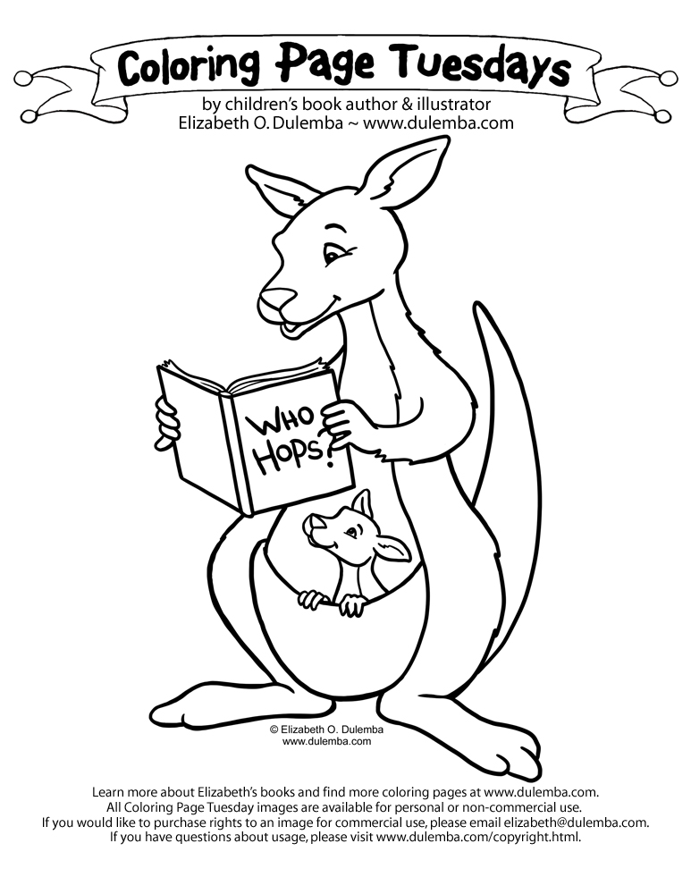 Coloring Page Tuesday - Kangaroo! title=