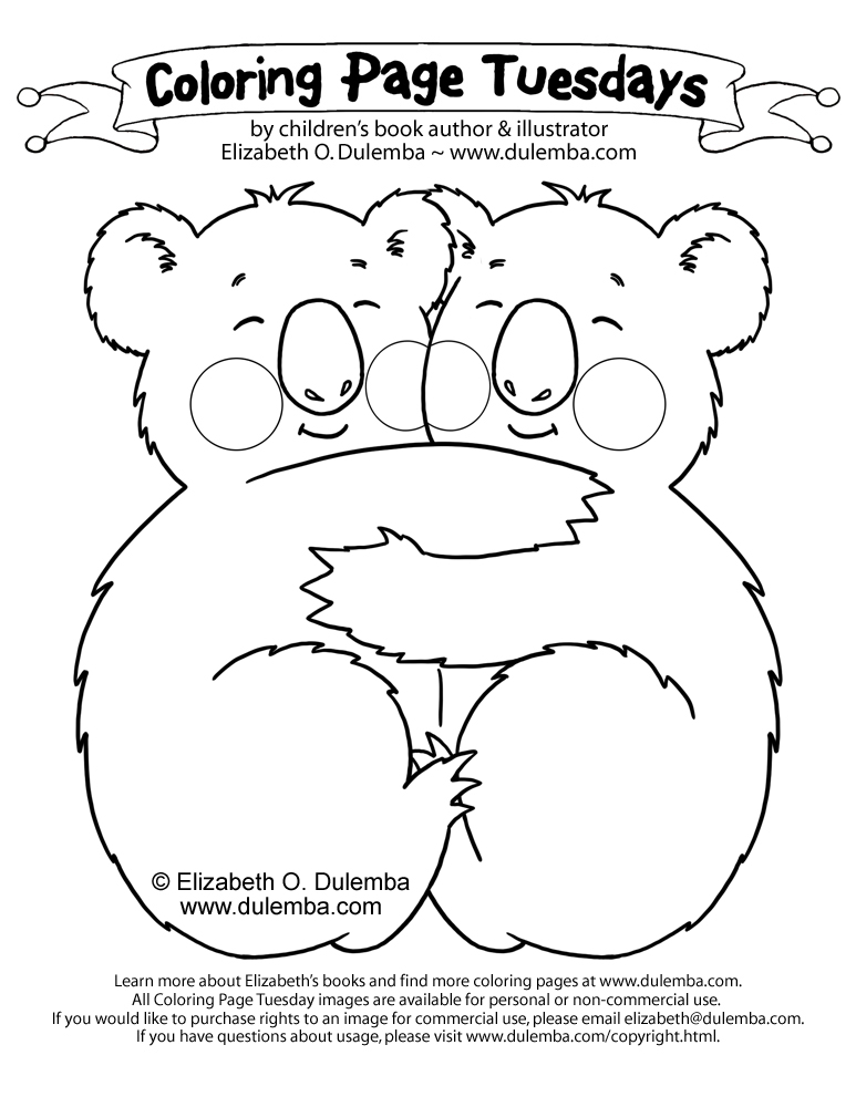 dulemba: Coloring Page Tuesday - Hugging Koalas