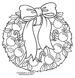 dulemba coloring page tuesday christmas wreath - Wreath Coloring Page