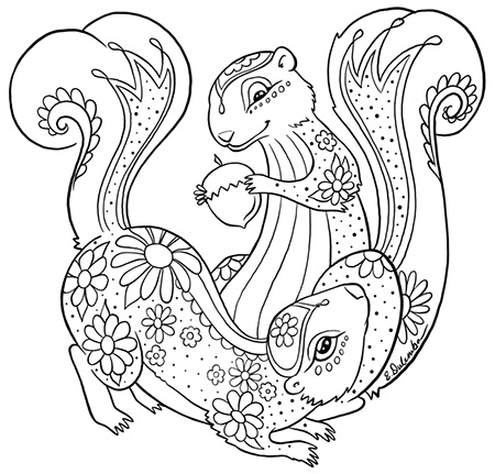 Dulemba Coloring Page Tuesday Pretty Squirrels